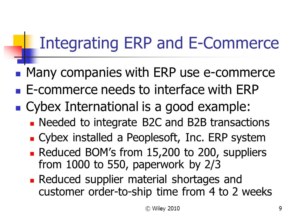 © Wiley 20109 Integrating ERP and E-Commerce Many companies with ERP use e-commerce E-commerce needs to interface with ERP Cybex International is a good example: Needed to integrate B2C and B2B transactions Cybex installed a Peoplesoft, Inc.
