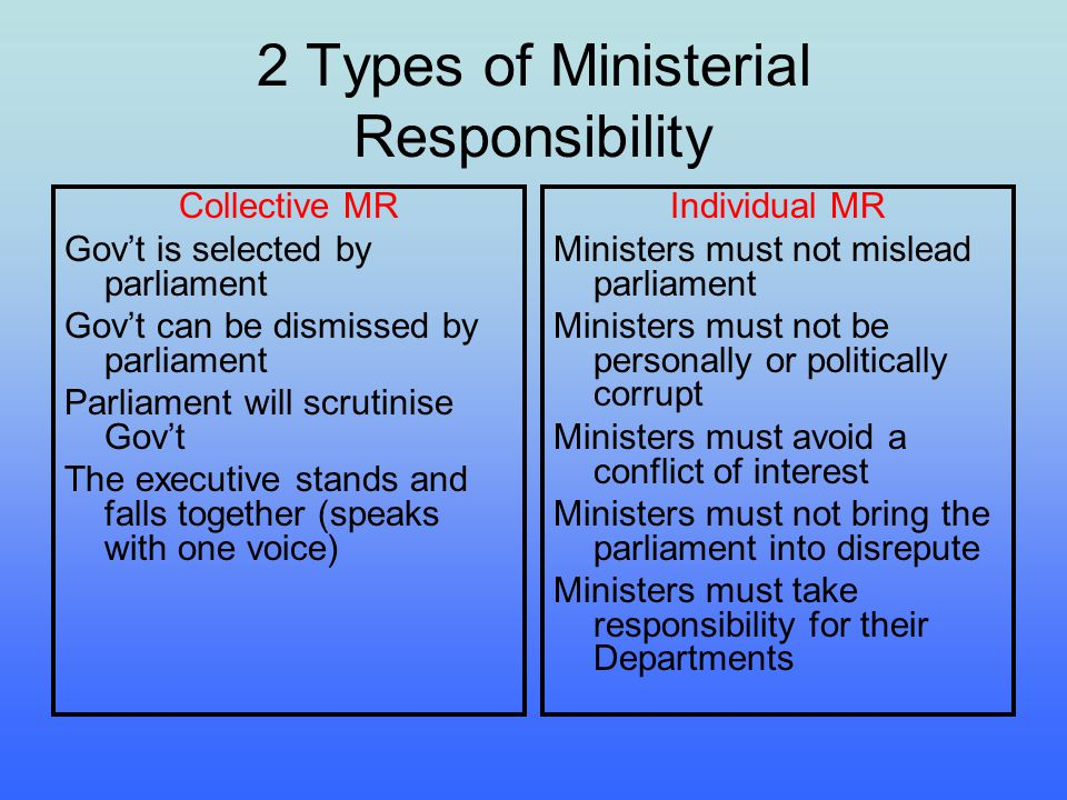 Collective Ministerial Responsibility Making and breaking the Govt Strong party discipline and the use of a majoritarian electoral system leads to dominance of 2 major parties in the lower house This means, in practice, that there are strong disciplined majorities in parliament so the House tends to form strong govts hung parliaments = no clear majority (last happened in the 1940) Last federal govt to fall as a result of losing a vote of no-confidence was Faddens UAP govt in 1941 (very rare) In practice, govts are dismissed at elections not in parliament