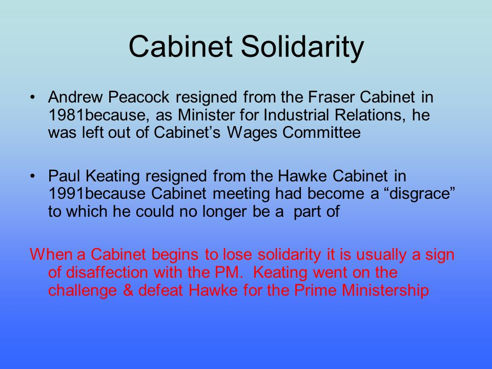 Cabinet Solidarity Andrew Peacock resigned from the Fraser Cabinet in 1981because, as Minister for Industrial Relations, he was left out of Cabinets W