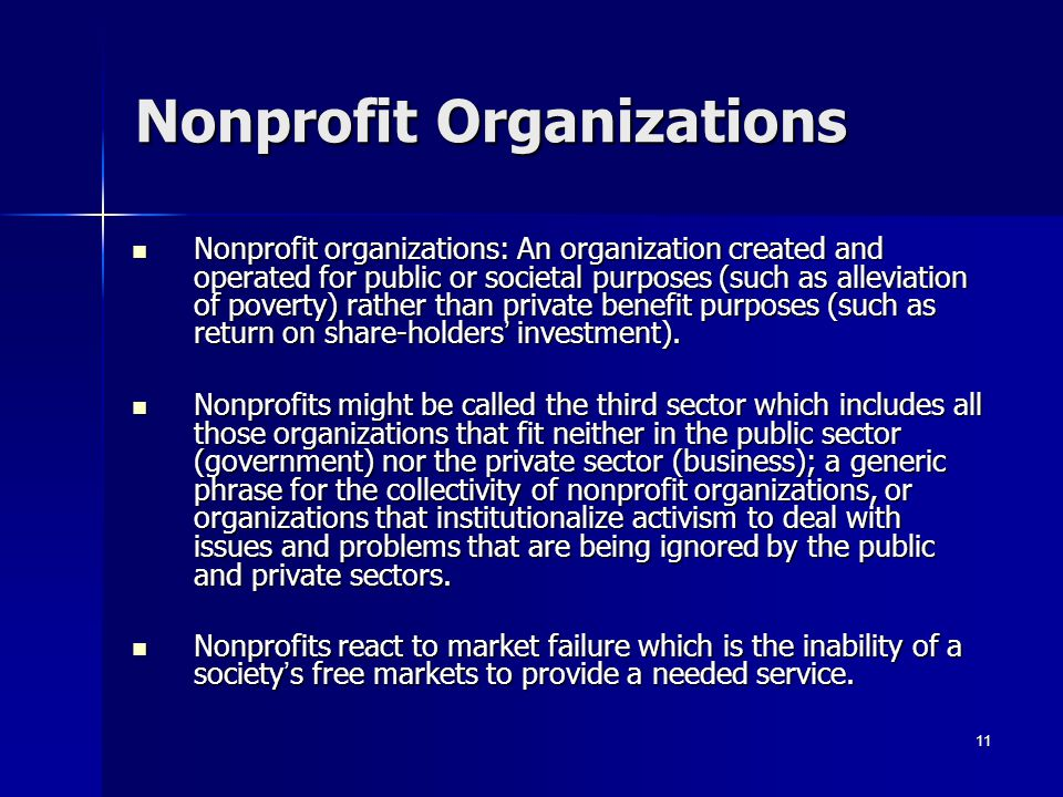 11 Nonprofit Organizations Nonprofit organizations: An organization created and operated for public or societal purposes (such as alleviation of pover
