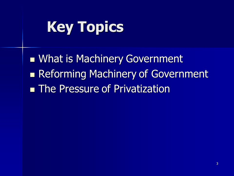 4 Machinery of government consists of all the structural arrangements provided by a constitutional provision or a statute requiring the delivery of government services.