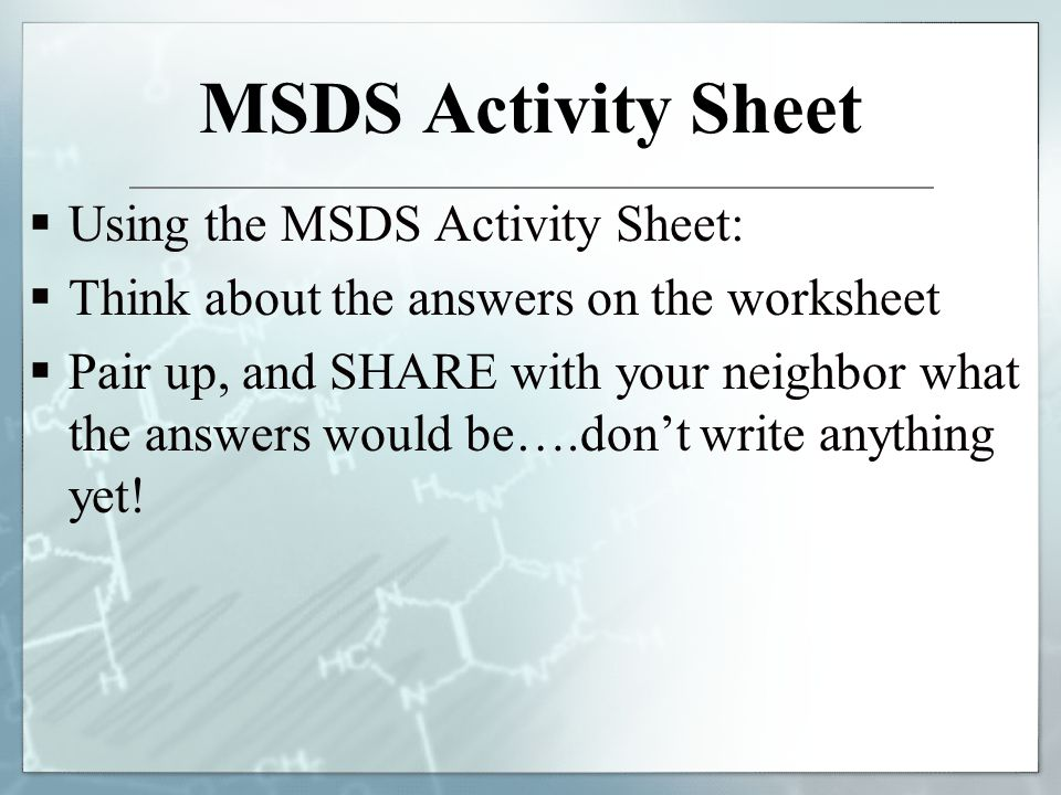 Printables Msds Worksheet biotech lab safety material data sheets hazards in the msds activity sheet using think about answers on worksheet