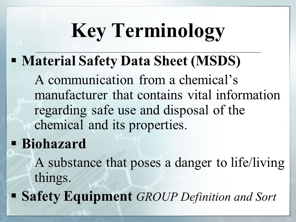 Printables Msds Worksheet biotech lab safety material data sheets hazards in the key terminology sheet msds a communication from chemicals manufacturer that