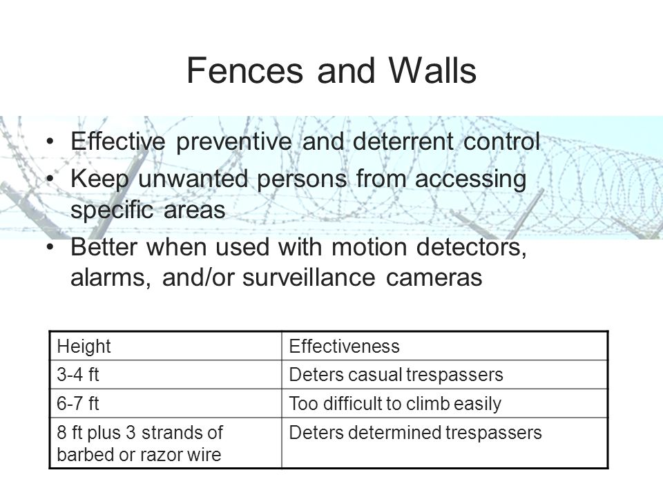 Fences and Walls Effective preventive and deterrent control Keep unwanted persons from accessing specific areas Better when used with motion detectors