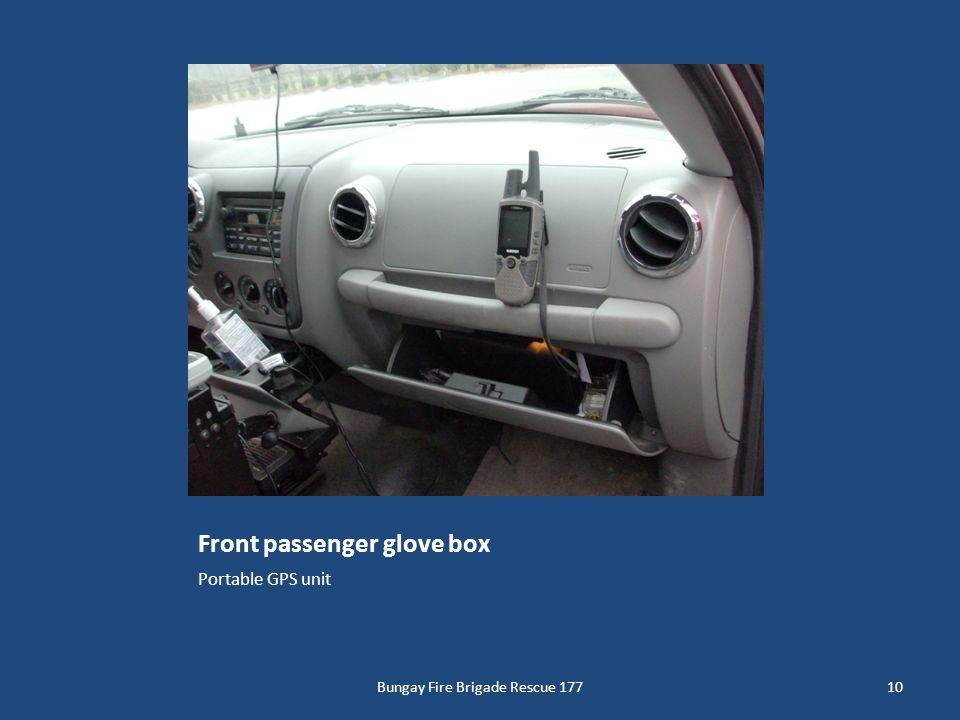 Front passenger glove box Portable GPS unit 10Bungay Fire Brigade Rescue 177