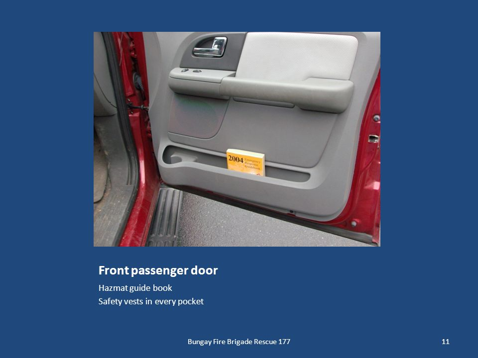 Front passenger door Hazmat guide book Safety vests in every pocket 11Bungay Fire Brigade Rescue 177