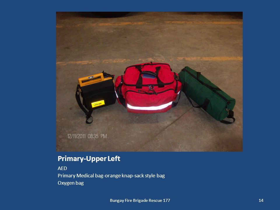 Primary-Upper Left AED Primary Medical bag-orange knap-sack style bag Oxygen bag 14Bungay Fire Brigade Rescue 177