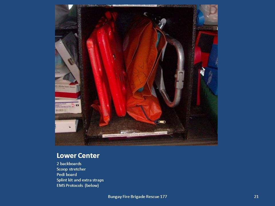 Lower Center 2 backboards Scoop stretcher Pedi board Splint kit and extra straps EMS Protocols (below) 21Bungay Fire Brigade Rescue 177