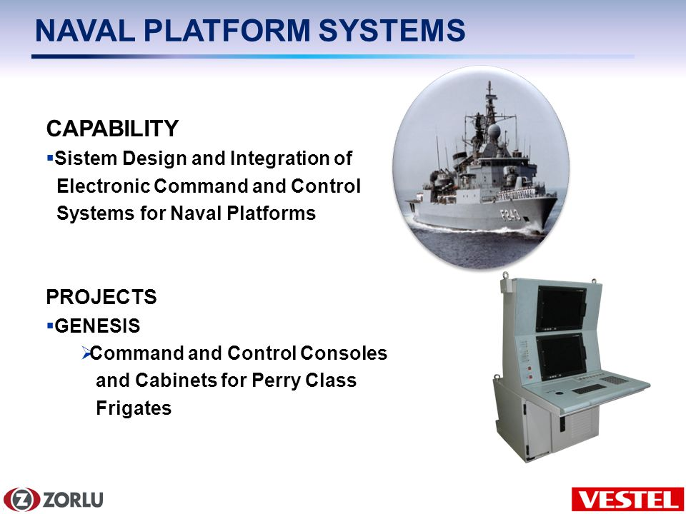 9/6 NAVAL PLATFORM SYSTEMS CAPABILITY Sistem Design and Integration of Electronic Command and Control Systems for Naval Platforms PROJECTS GENESIS Command and Control Consoles and Cabinets for Perry Class Frigates