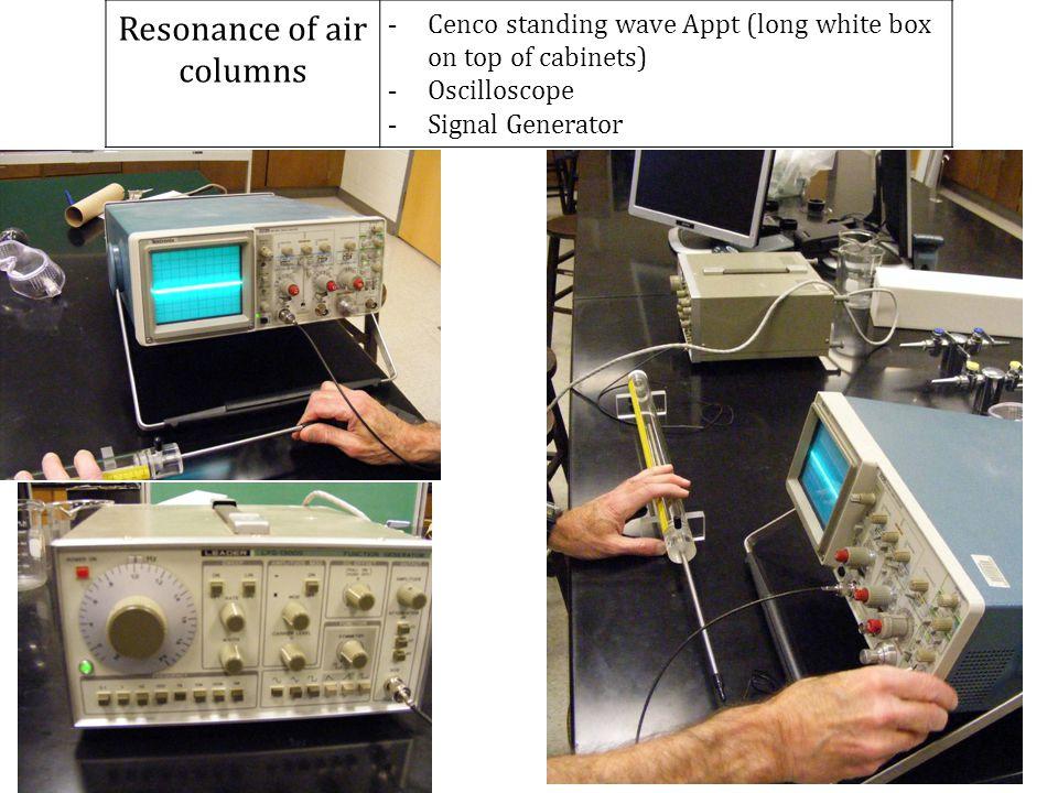 Resonance of air columns - Cenco standing wave Appt (long white box on top of cabinets) - Oscilloscope - Signal Generator