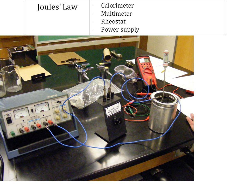 Joules' Law - Calorimeter - Multimeter - Rheostat - Power supply