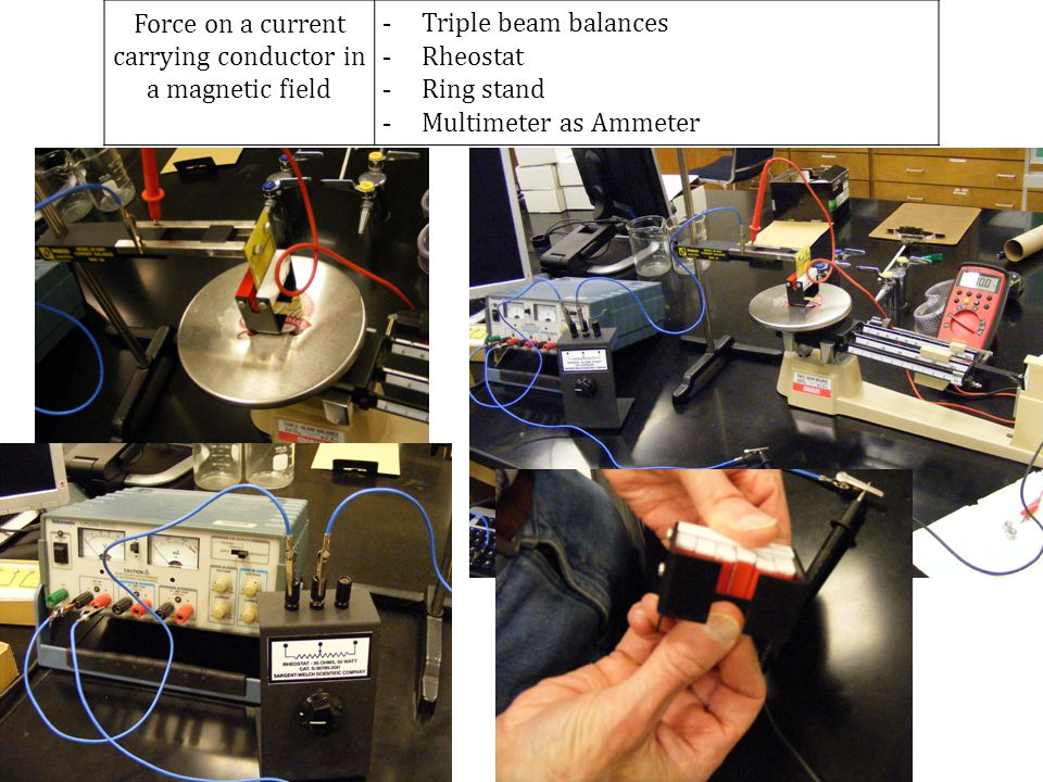 Force on a current carrying conductor in a magnetic field - Triple beam balances - Rheostat - Ring stand - Multimeter as Ammeter