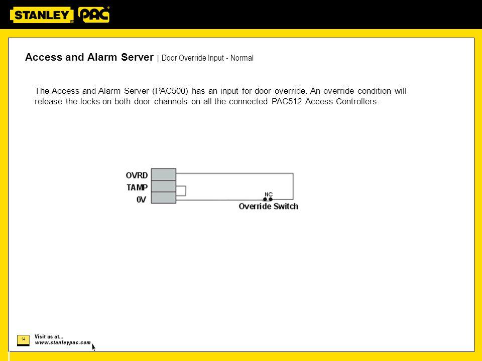 14 14 Access and Alarm Server   Door Override Input - Normal The Access and Alarm Server (PAC500) has an input for door override.