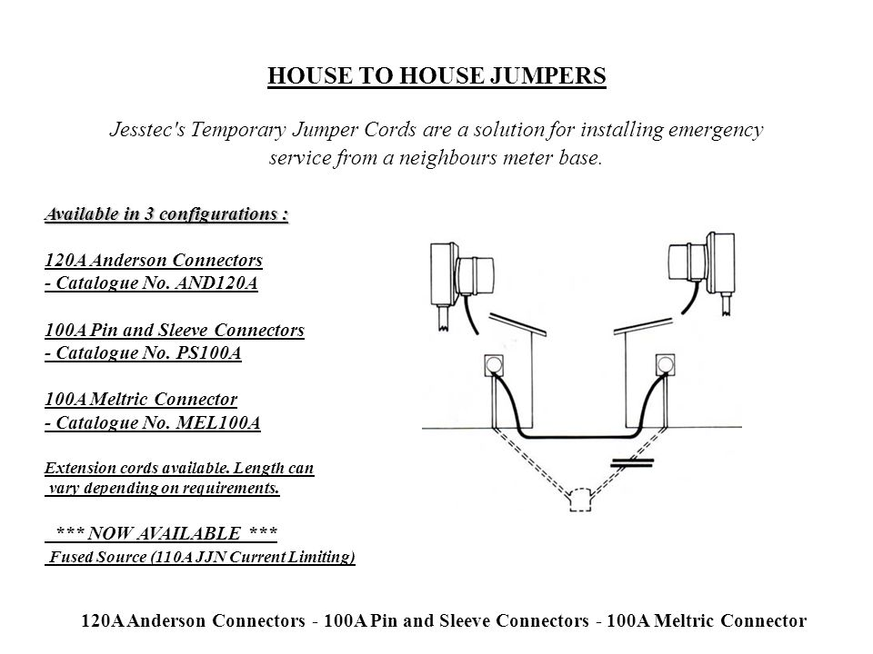 HOUSE TO HOUSE JUMPERS Jesstec s Temporary Jumper Cords are a solution for installing emergency service from a neighbours meter base.