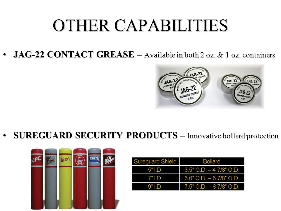 OTHER CAPABILITIES JAG-22 CONTACT GREASE – Available in both 2 oz.