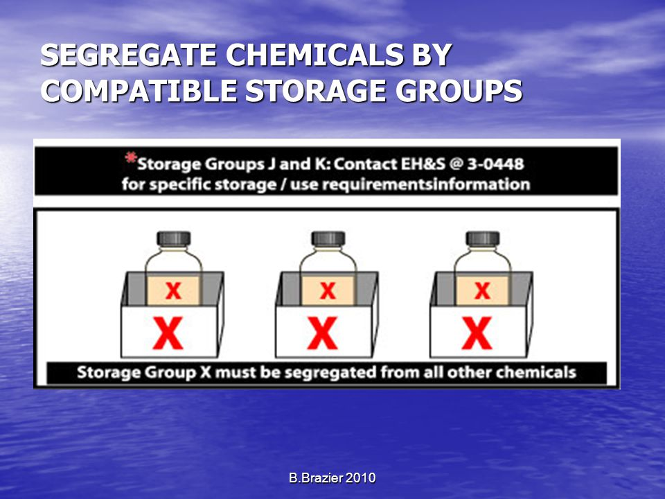 SEGREGATE CHEMICALS BY COMPATIBLE STORAGE GROUPS B.Brazier 2010