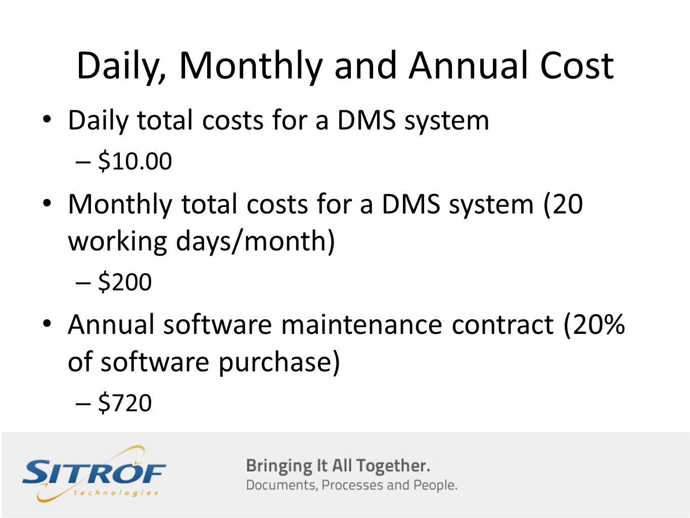 Daily, Monthly and Annual Cost Daily total costs for a DMS system – $10.00 Monthly total costs for a DMS system (20 working days/month) – $200 Annual software maintenance contract (20% of software purchase) – $720