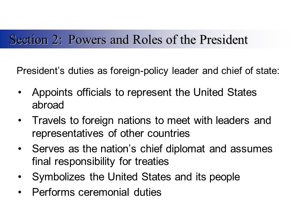 Presidents duties as foreign-policy leader and chief of state: Appoints officials to represent the United States abroad Travels to foreign nations to