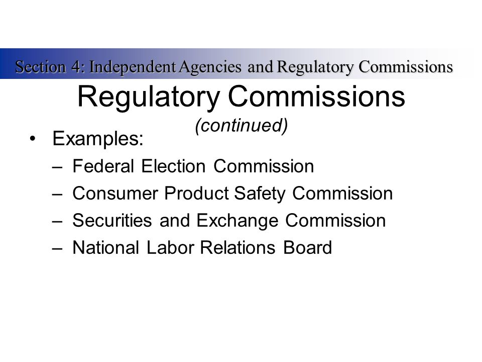 Regulatory Commissions (continued) Examples: –Federal Election Commission –Consumer Product Safety Commission –Securities and Exchange Commission –Nat