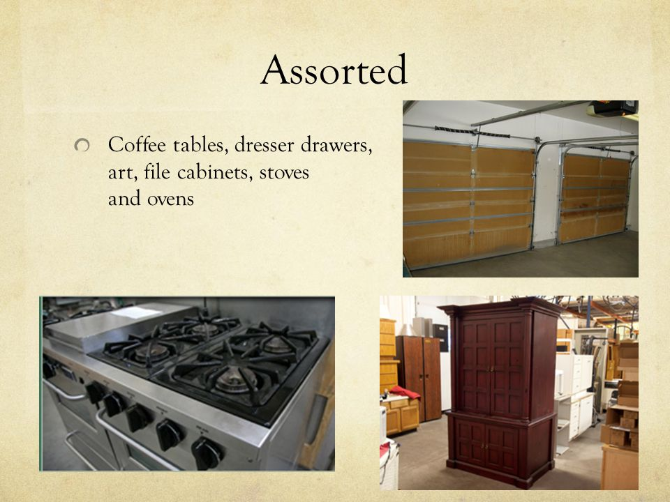 Assorted Coffee tables, dresser drawers, art, file cabinets, stoves and ovens