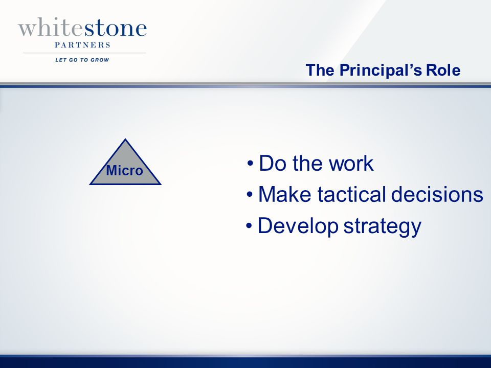 Micro Make tactical decisions Do the work Develop strategy The Principals Role