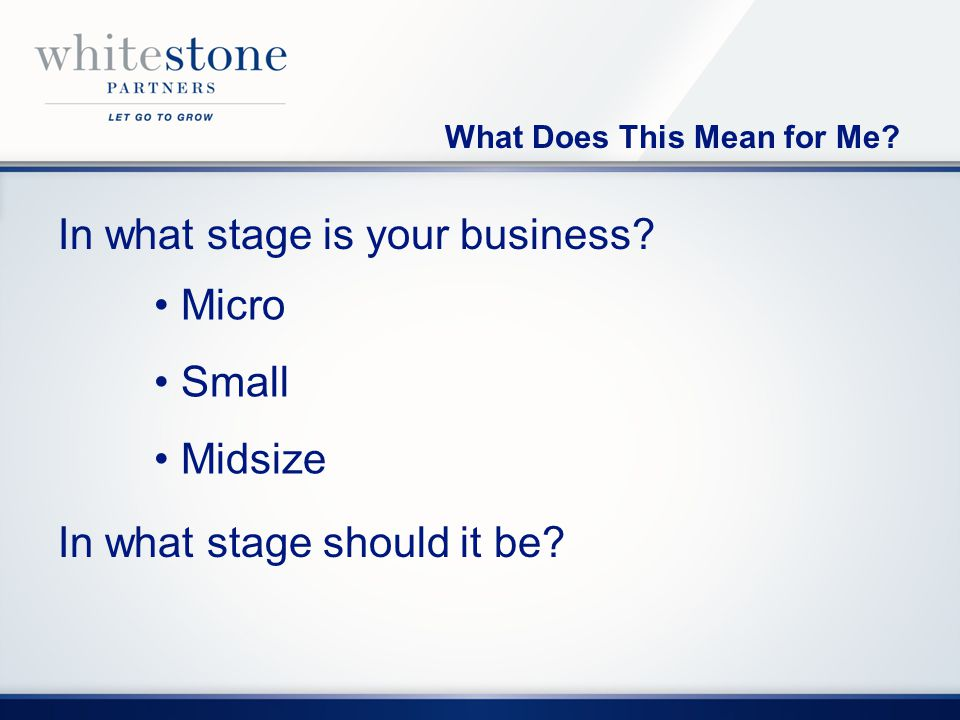 What Does This Mean for Me. In what stage is your business.