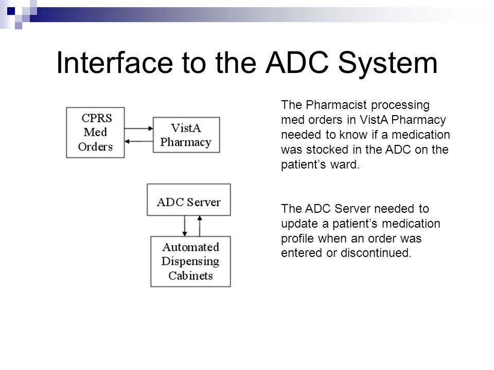 Interface to the ADC System The Pharmacist processing med orders in VistA Pharmacy needed to know if a medication was stocked in the ADC on the patien