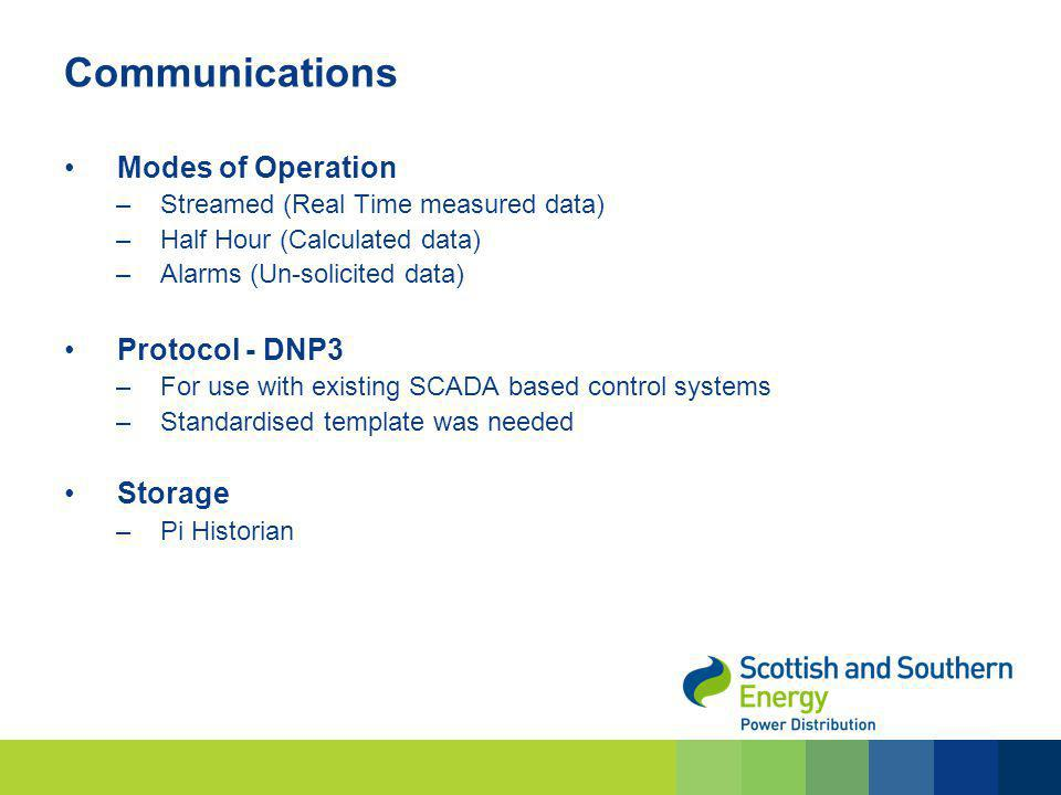 Communications Modes of Operation –Streamed (Real Time measured data) –Half Hour (Calculated data) –Alarms (Un-solicited data) Protocol - DNP3 –For us