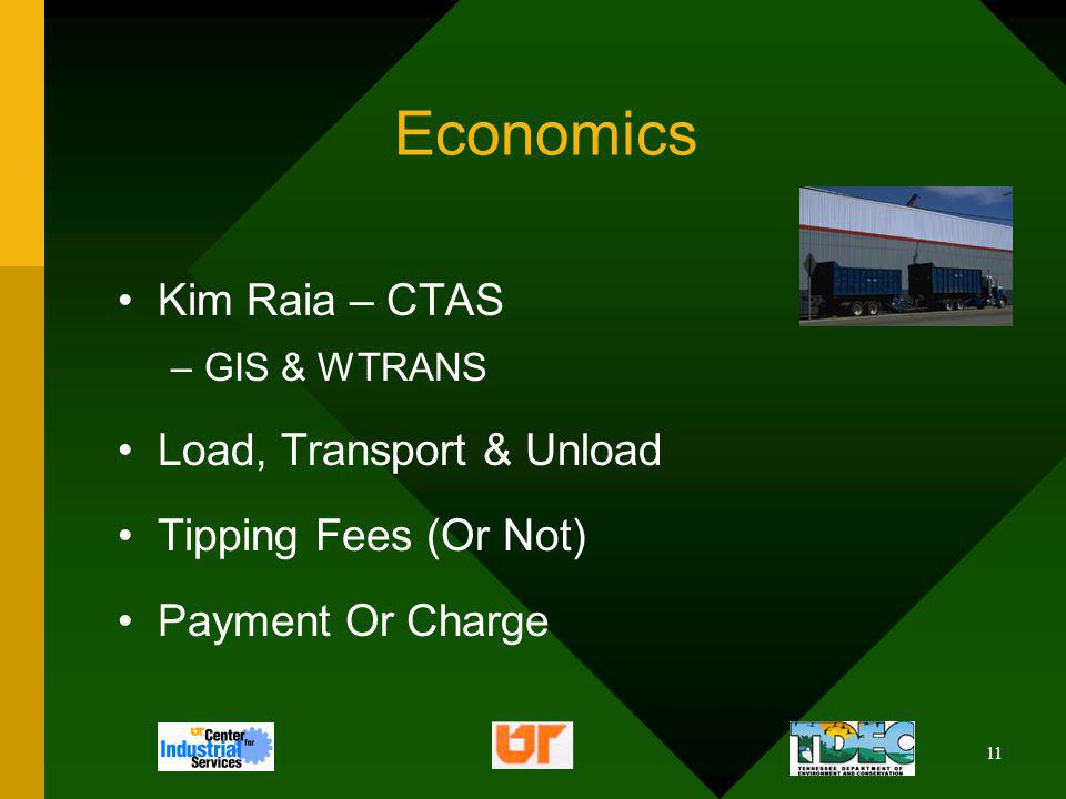 11 Economics Kim Raia – CTAS –GIS & WTRANS Load, Transport & Unload Tipping Fees (Or Not) Payment Or Charge