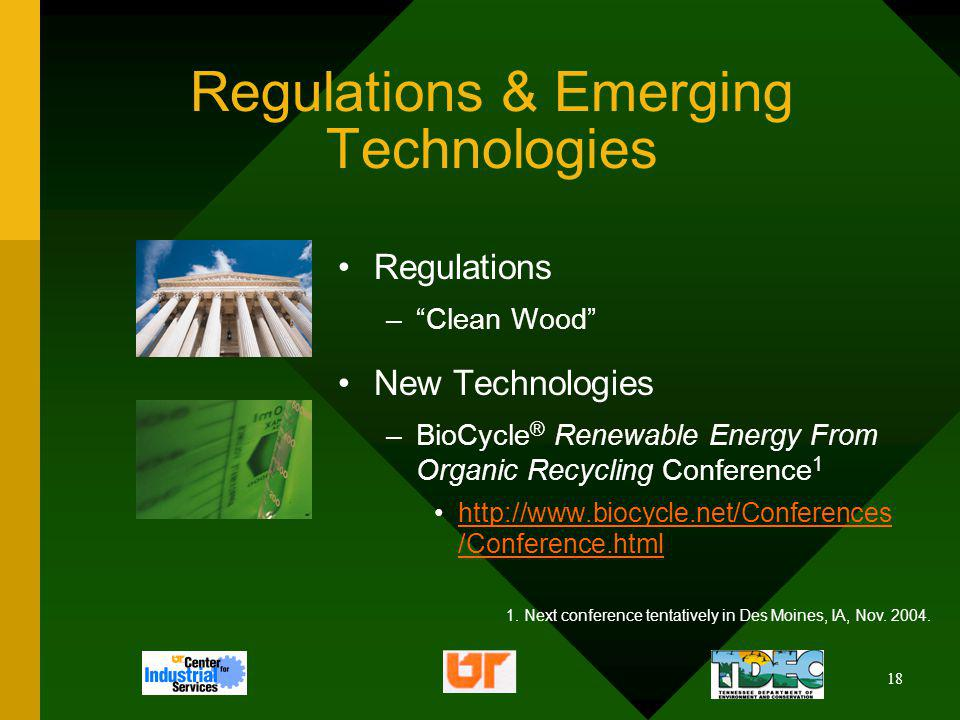 18 Regulations & Emerging Technologies Regulations –Clean Wood New Technologies –BioCycle ® Renewable Energy From Organic Recycling Conference 1 http: