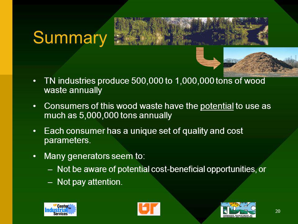 20 Summary TN industries produce 500,000 to 1,000,000 tons of wood waste annually Consumers of this wood waste have the potential to use as much as 5,