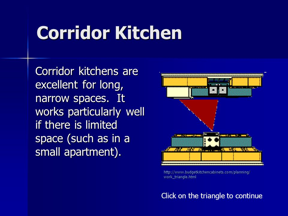Corridor Kitchen Corridor kitchens are excellent for long, narrow spaces. It works particularly well if there is limited space (such as in a small apa