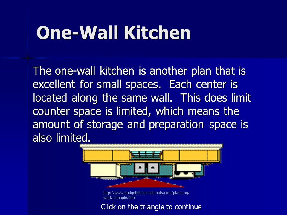 One-Wall Kitchen The one-wall kitchen is another plan that is excellent for small spaces.