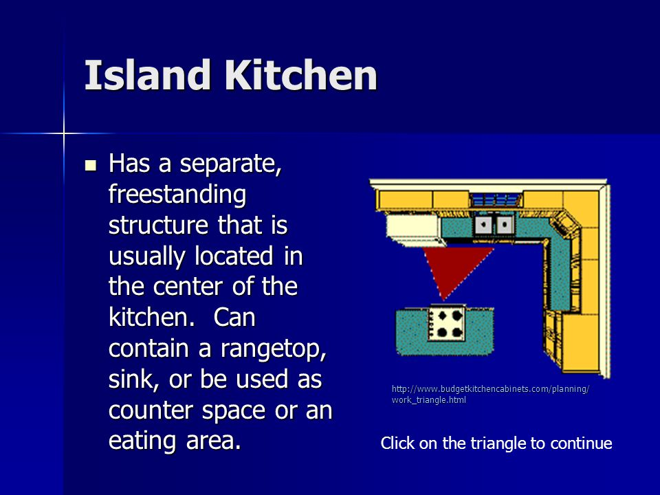 Island Kitchen Has a separate, freestanding structure that is usually located in the center of the kitchen. Can contain a rangetop, sink, or be used a