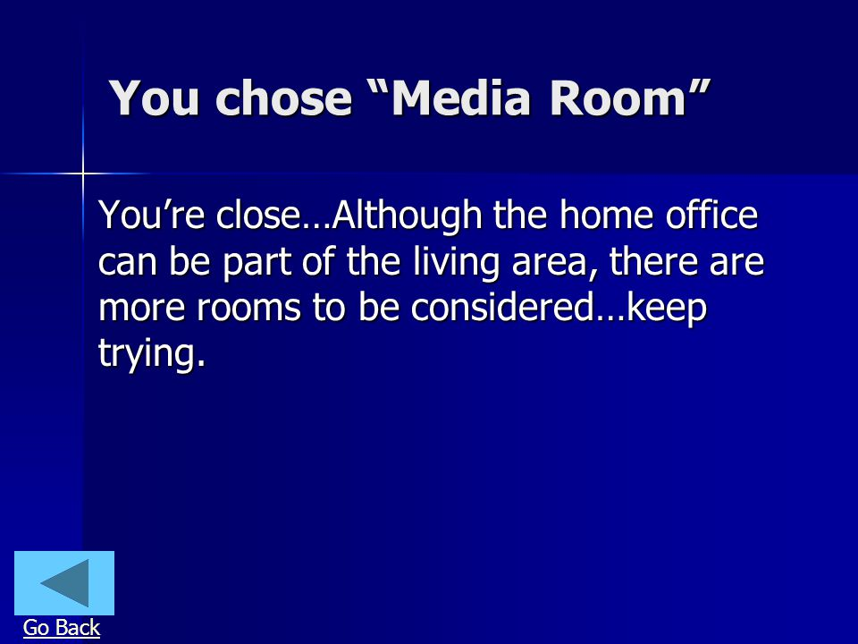 You chose Media Room Youre close…Although the home office can be part of the living area, there are more rooms to be considered…keep trying.