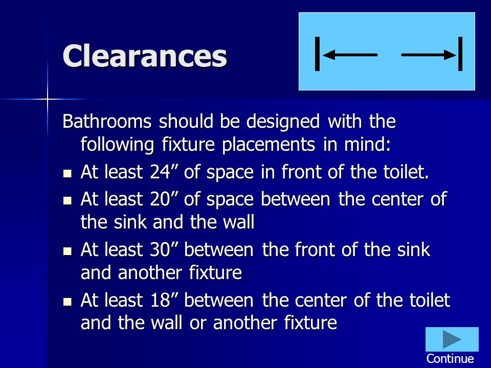 Clearances Bathrooms should be designed with the following fixture placements in mind: At least 24 of space in front of the toilet.