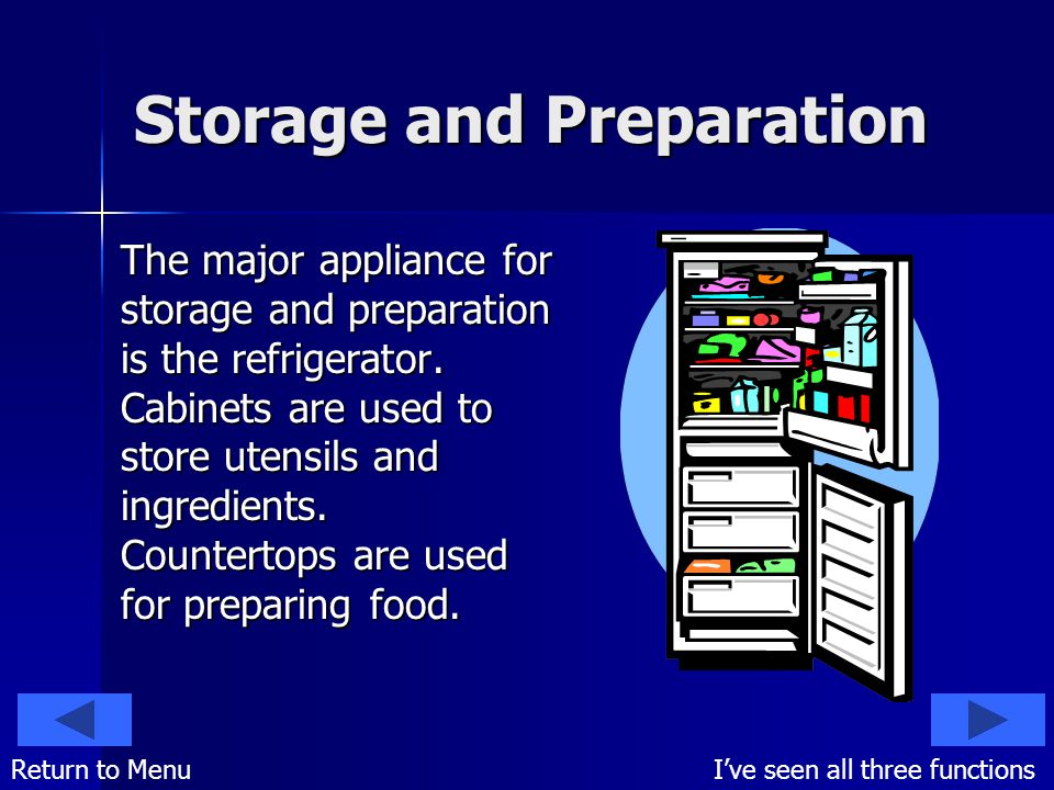 Storage and Preparation The major appliance for storage and preparation is the refrigerator.