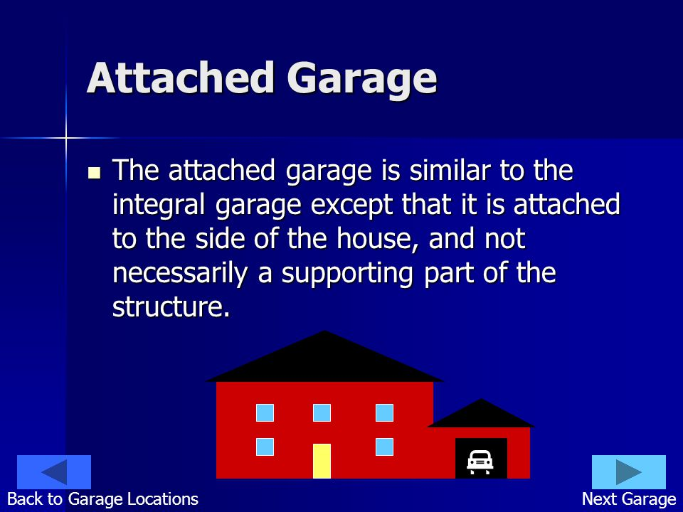 Attached Garage The attached garage is similar to the integral garage except that it is attached to the side of the house, and not necessarily a supporting part of the structure.