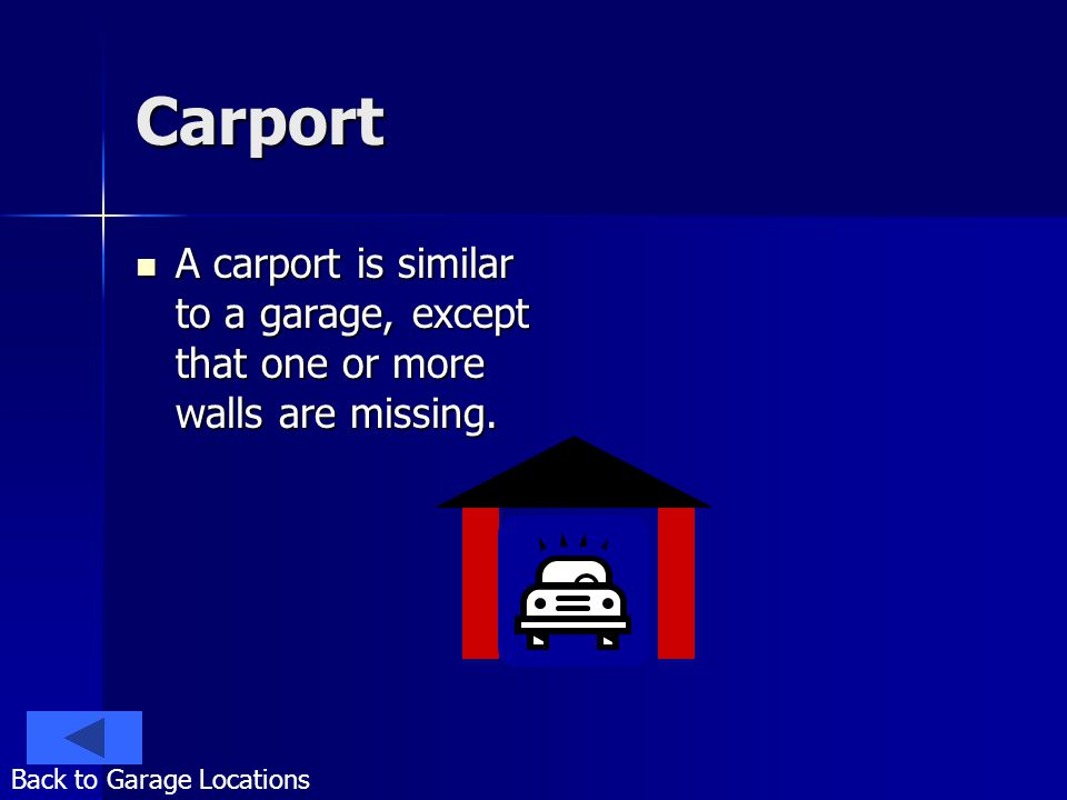 Carport A carport is similar to a garage, except that one or more walls are missing. A carport is similar to a garage, except that one or more walls a