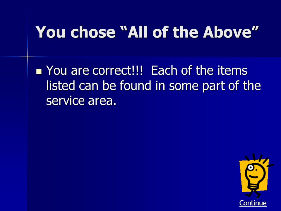 You chose All of the Above You are correct!!! Each of the items listed can be found in some part of the service area. You are correct!!! Each of the i