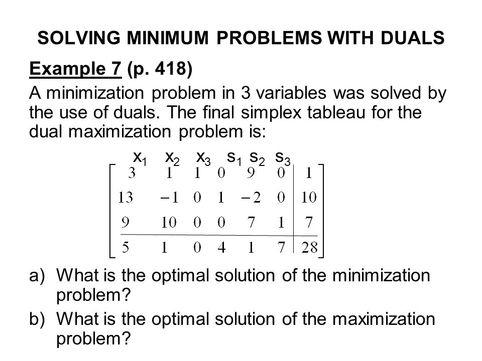 SOLVING MINIMUM PROBLEMS WITH DUALS Example 7 (p. 418) A minimization problem in 3 variables was solved by the use of duals. The final simplex tableau