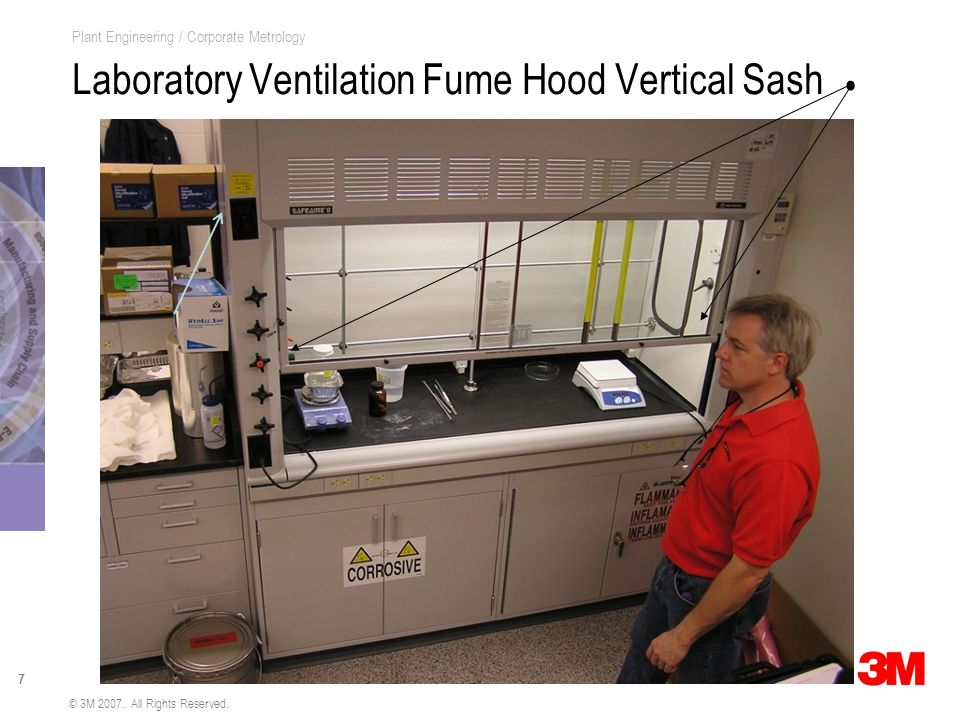 7 Plant Engineering / Corporate Metrology Laboratory Ventilation Fume Hood Vertical Sash © 3M 2007.