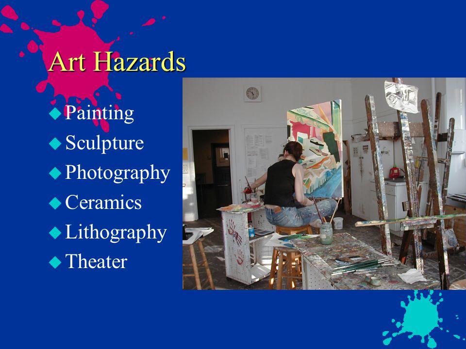 Environmental Issues u RCRA u Hazardous Waste u Clean Air Act u Spray booths u Sculpture shop u Clean Water Act u Ceramics u Drain disposal