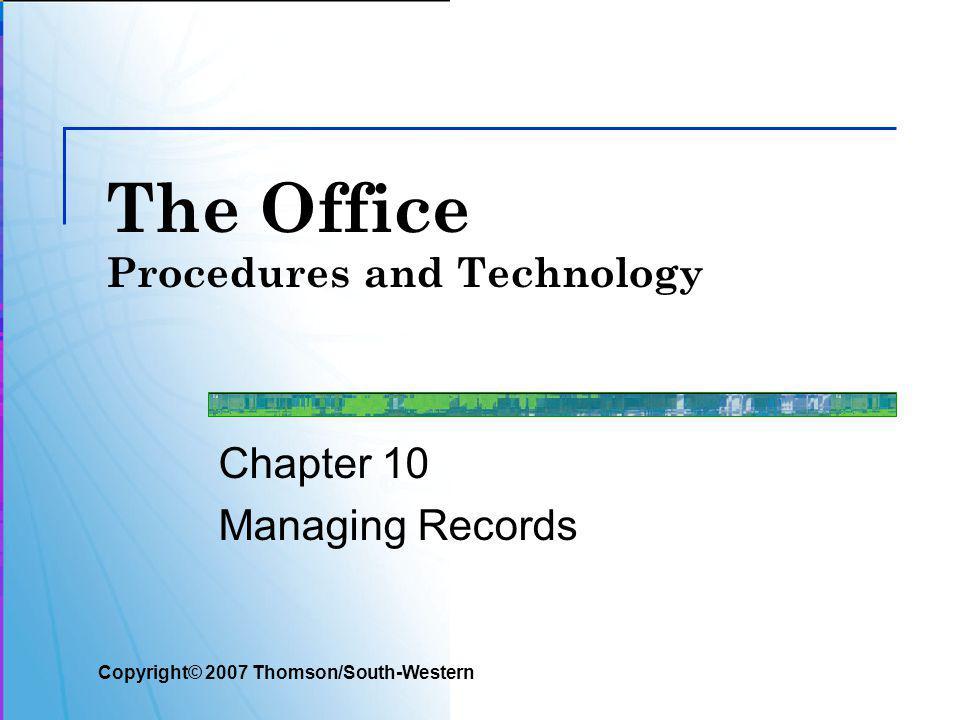Slide 12 Storage Equipment Topic 10-1 Managing Paper Records Several types of storage equipment are used for paper files Vertical file cabinets Lateral file cabinets Horizontal (flat) files Storage drawers Shelf files Mobile files Storage boxes