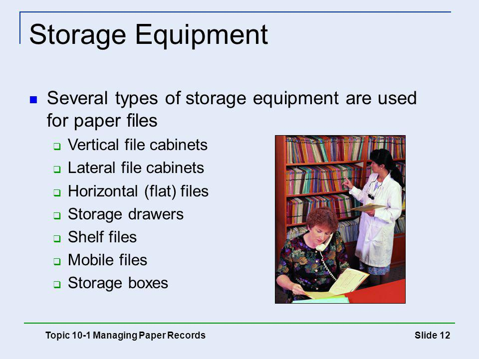 Slide 12 Storage Equipment Topic 10-1 Managing Paper Records Several types of storage equipment are used for paper files Vertical file cabinets Latera