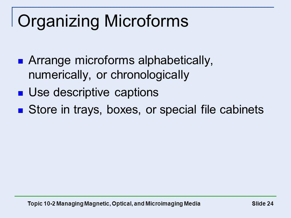 Slide 24 Organizing Microforms Arrange microforms alphabetically, numerically, or chronologically Use descriptive captions Store in trays, boxes, or s