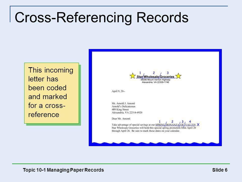 Slide 7 Cross-Referencing Records Topic 10-1 Managing Paper Records A cross- reference sheet indicates where the letter is filed