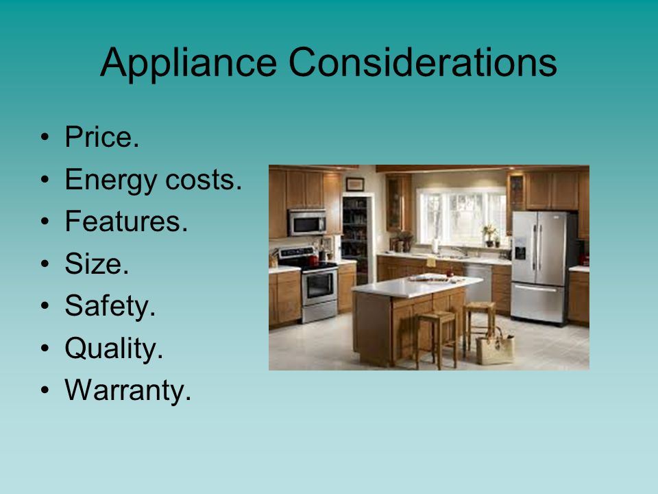 Select equipment to fit the design or period of a kitchen.