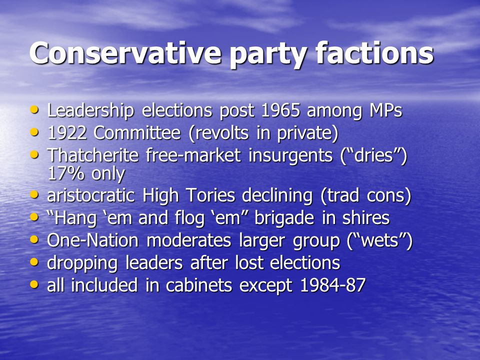 Conservative party factions Leadership elections post 1965 among MPs Leadership elections post 1965 among MPs 1922 Committee (revolts in private) 1922 Committee (revolts in private) Thatcherite free-market insurgents (dries) 17% only Thatcherite free-market insurgents (dries) 17% only aristocratic High Tories declining (trad cons) aristocratic High Tories declining (trad cons) Hang em and flog em brigade in shires Hang em and flog em brigade in shires One-Nation moderates larger group (wets) One-Nation moderates larger group (wets) dropping leaders after lost elections dropping leaders after lost elections all included in cabinets except 1984-87 all included in cabinets except 1984-87