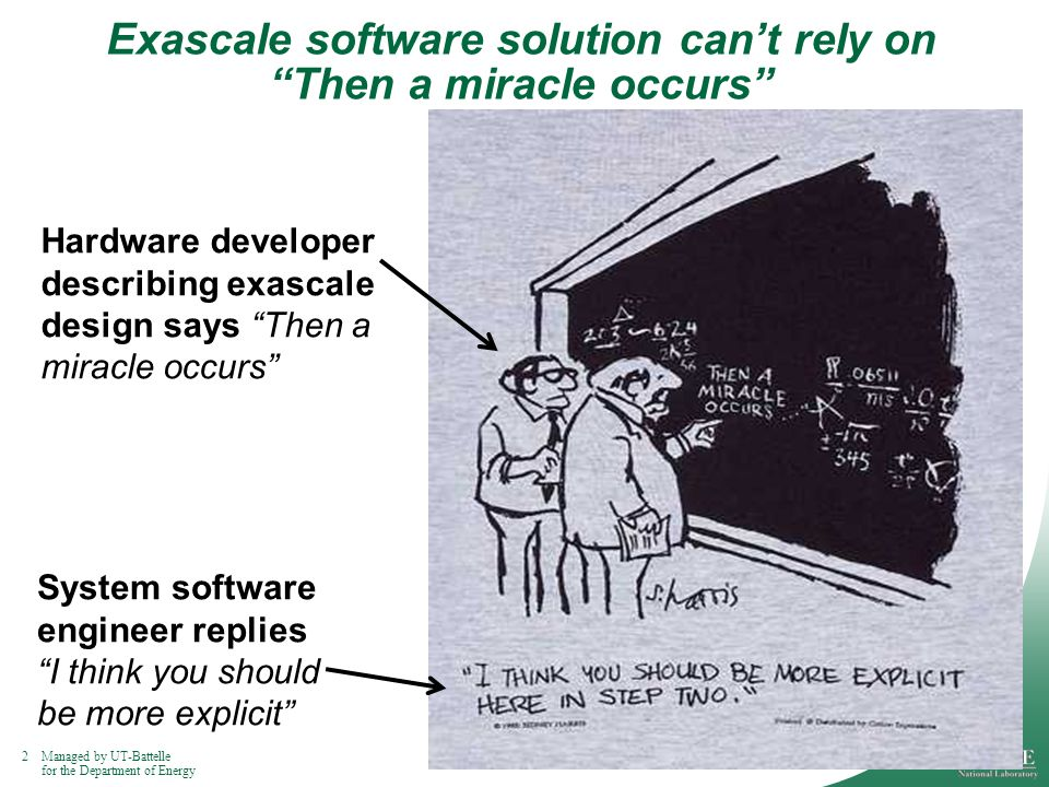 2Managed by UT-Battelle for the Department of Energy Exascale software solution cant rely on Then a miracle occurs Hardware developer describing exascale design says Then a miracle occurs System software engineer replies I think you should be more explicit